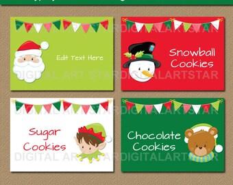 Printable Christmas Buffet Card Christmas Labels Holiday