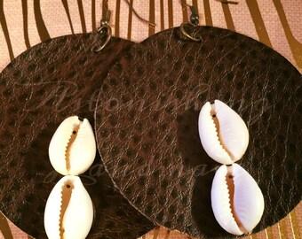 Clearance -Chocolate  & Cowrie Vegan Leather Earrings