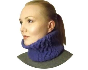 Violetti 100% merinovilla kauluri - ultra violet - palmikkoneule kauluri - kaulahuivi - violet scarf - purple merino wool