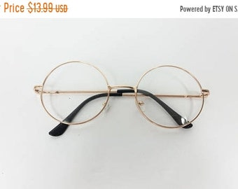 30% SPRING SALE Vintage Classic Standard Transparent Fashion Classic Big Round Spectacle Sunglasses Frame Gold Clear Lens Glasses Frame