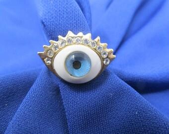 Eyeball Ring - gold tone band, blue eye, black iris, faux diamond lashes - Size 5.5 adjustable, Vintage Jewelry, Rings For Women