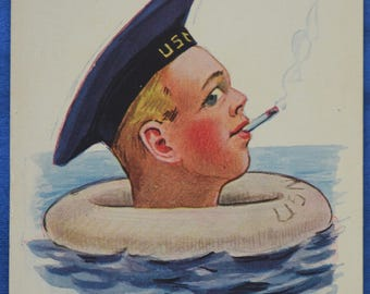 WWI Sailor Smoke Save Life Preserver Military Propoganda A-S Wall Postcard