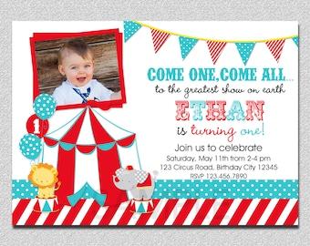 Circus Birthday Invitation,  1st Birthday Circus  Party Invitation, Circus Birthday Party, Carnival Invitation, Kids Birthday Invitations