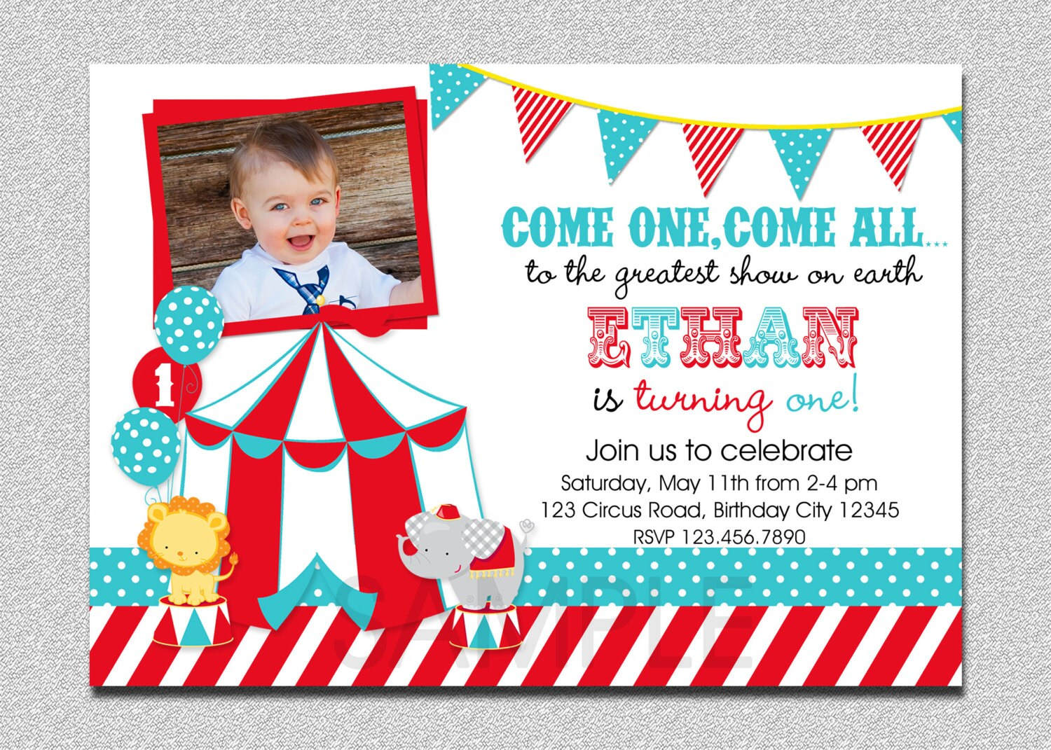 Circus birthday invitation 1st birthday circus party zoom filmwisefo Image collections