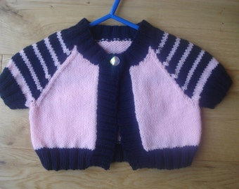 Pale Pink and Navy Blue Striped Bolero or Cardigan Top