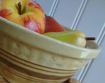 Vintage Yellow Ware Bowl. Tan, Brown Stripes. Yellowware Stoneware Pottery Mixing Bowl. Cottage, Farmhouse, Kitchen Decor.