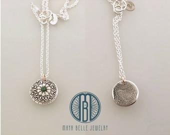 Mandala Fingerprint Pendant necklace, Two tone, Sterling Silver, 14K GF
