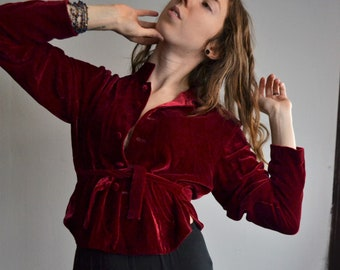 Beautiful Red Velvet Vintage Jacket