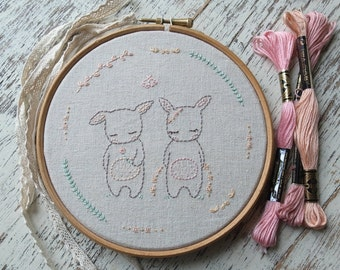 little bunnies hand embroidery pattern