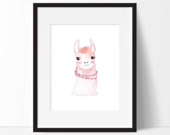 Llama Art - Baby Art - Girly Llama - Llama Print - Girls Nursery Print - Girls Room Decor - Baby Girl Nursery - Instant PRINTABLE 8x10