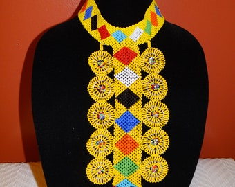 Yellow/Multicolor handmade beaded necklace from Kenya Africa