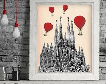 Sagrada Familia Red Hot Air Balloons - Barcelona art hot air balloon decorations hot air balloon art Home spanish poster red room decor