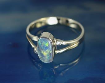 Black Opal Solid Gold 14k Ring - Split shank with 2 Diamonds Bezel