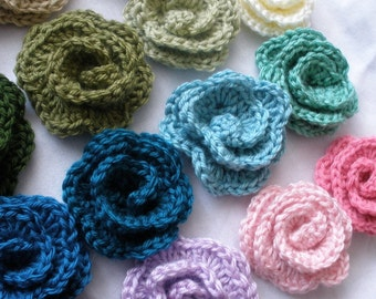 Set of 3 Crocheted Flower Rose Clips or Barrettes - 25 Colors to Choose From - FREE SHIPPING