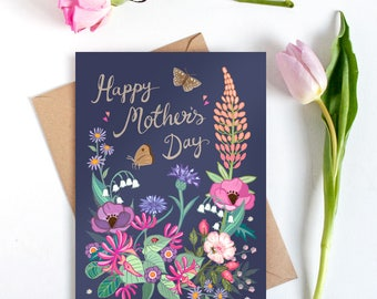 Mothers Day Card - Mothers day - Happy Mothers Day - Card for Mum - Card for Mom - Best Mum Card - Floral Card - Card for a Garden Lover