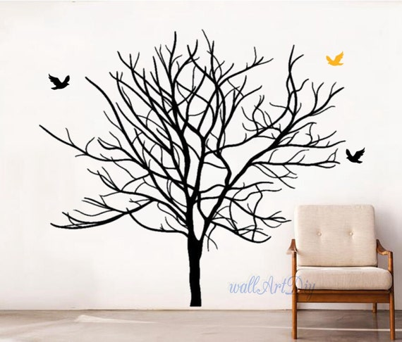 Arbre stickers arbre et oiseaux mural muraux au pochoir muraux