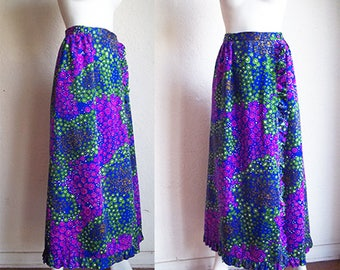 Vintage 70s ALICE California Floral Print Maxi Ruffle Wrap Skirt S