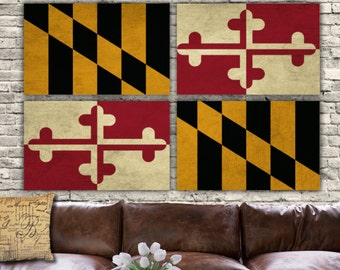 Maryland State Flag on Canvas - 4 panel set. Vintage art, large Canvas Art, Maryland Flag,  Big art