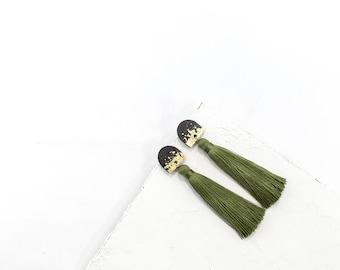 Tassel Earrings / Long Earrings / Boho chic Earrings / Statement Earrings / Concrete Earrings / Concrete Jewelry / Gift For Her