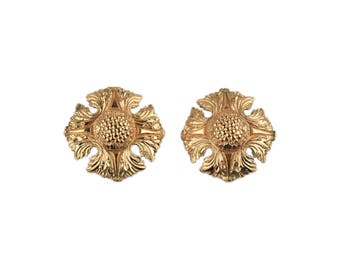 Authentic CHANEL Vintage Gold Metal Clip On EARRINGS
