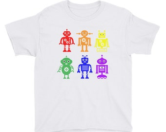 Proud Robots! Rainbow Pride Tshirt for Kids White Youth Short Sleeve T-Shirt