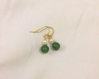 Green Jade and Freshwater Pearl Earrings on 14k Gold