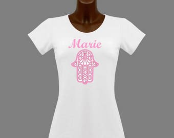 T-shirt women white Hamsa pink... personalized with name