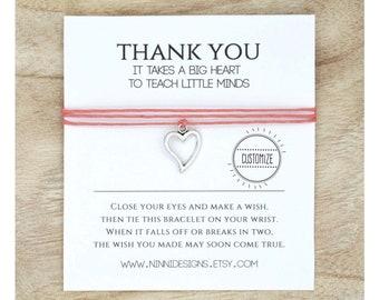 Teacher Gift / Teacher Wish Bracelet / Teacher Appreciation Gift /Costum / Teacher thank you gifts / Wishbracelet