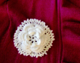 Broach, Irish Rose, White, Handmade