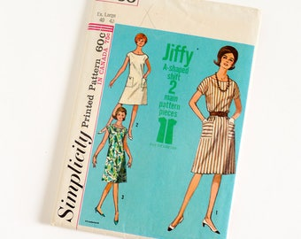 Vintage 1960s Womens Size 40-42 A-Line Jiffy Dress Simplicity Sewing Pattern 5960 UNCUT / b42-44 w34-36 / Round Neck Short Kimono Sleeve