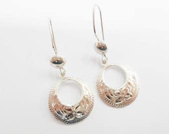 Sterling Earrings, Taxco Earrings, Etched Earrings, Dangle Earrings, Vintage TAXCO Sterling Silver GC-56 Etched Dangle Earrings #2887