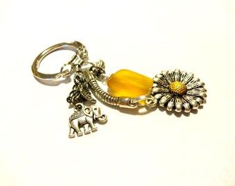Good Luck Elephant Keychain, Elephant Accessory, Sea Glass Key Chain, Pretty Sunflower Charm Keychain,  Elephant Gift, Baby Sitter Gifts