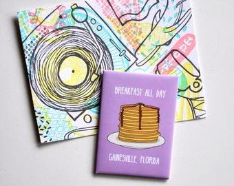 Cute Fridge Magnet: Breakfast All Day Gainesville, Florida Pancakes