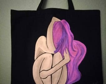 Alone, Hand Painted Art on a bag