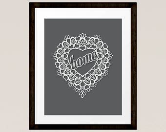 "White Heart with ""home"" on Charcoal Grey, printable art, Family Gift, Love token, Lace Heart, INSTANT DOWNLOAD"