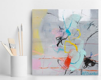 Small Abstract painting, Original Art, Canvas Art, colorful art with grey yellow aqua  by Duealberi