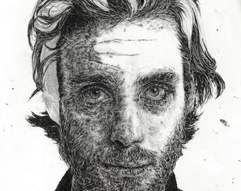 Cillian Murphy unfinished style portrait in pen - Irish actor, Batman, 28 Days Later, Dunkirk, Inception