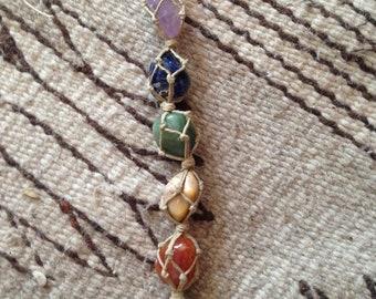 Chakra OM Hemp Stones Hanging Decor//Rear View Mirror Car Hanger//Rainbow//OM Charm//Yoga Studio//Meditation Room