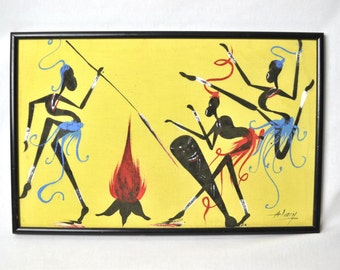 Abstract Tribal Art Fire Dancers Painting by Alain Mid Century Era