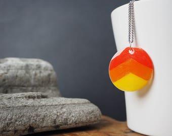 SALE!! Illustrated Orange Chevron Necklace