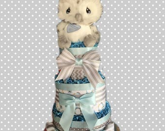 Grey and Blue Owl Baby Shower Diaper Cake