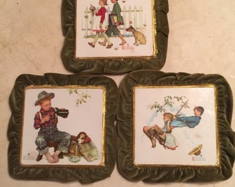 NORMAN ROCKWELL Tiles -Set of Three