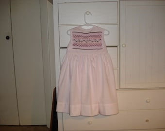 Hand smocked girls dress Pink Size 3