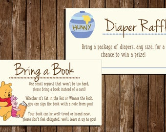 Printable Winnie The Pooh Baby Shower Additional Cards/ Bring a book/ Diaper Raffle