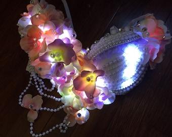 LED Romantic Nymph Bra: edm, plur, kandi, fairy rave wear, festival, cosplay, edc, edc bra, rave bra, edm, costume
