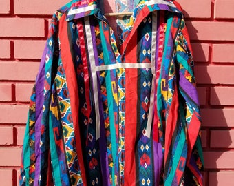 Psychedelic Tribal Pattern Collared Shirt by Goodies and Co