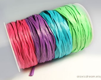 Candy Raffia Ribbon Set - 40 yards - Pink Purple Turquoise Lime