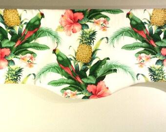 Tropischen Valance, gebogene Fenster Behandlung, Palm Valance, Papagei, Strand Haus Volant, Tommy Bahama Stoff, Strand Dekor, Sommer Dekor