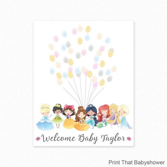 Baby Shower Fingerprint Guest Book   Princess Baby Shower   Personalized  Alternative Guest Book   Fingerprint Tree   Disney Princess