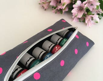 Pink Polka dot Essential Oil Long Pouch - Essential Oil Purse - Essential Oil Bag